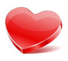 Free Red Shiny Glass Heart Shape Royalty Free Stock Photos - 17811548