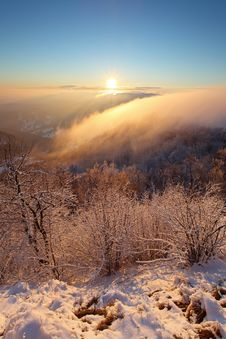 A Frosty Sunset Panorama In Beauty Mountain Stock Photo