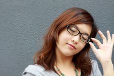 An Asian Girl Who Is Thinking Stock Photography