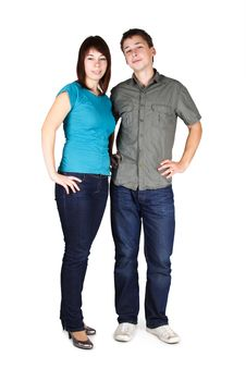 Free Man And Girl In Jeans Standing Stock Photo - 17813760