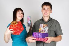 Free Happy Man And Girl Holding Many Gifts Stock Images - 17813794