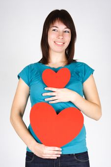 Free Beauty Girl Holding Two Paper Hearts, Smiling Stock Photography - 17813812