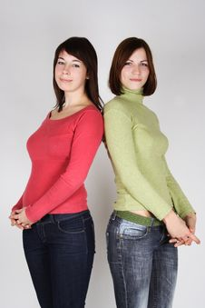 Free Two Young Brunette Girls Standing Stock Images - 17813844