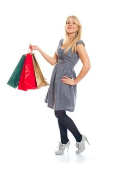 Free Lovely Blond With Shopping Bags Stock Image - 17815131