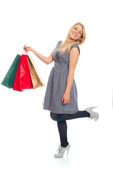 Free Lovely Blond With Shopping Bags Royalty Free Stock Images - 17815139