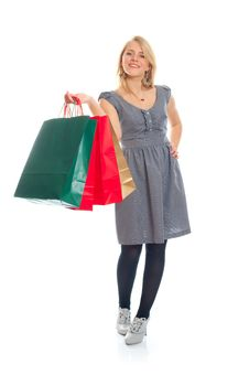 Free Lovely Blond With Shopping Bags Stock Image - 17815151