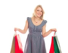 Free Lovely Blond With Shopping Bags Stock Photos - 17815163