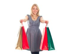 Free Lovely Blond With Shopping Bags Stock Photo - 17815180