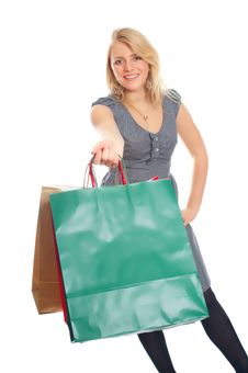 Free Lovely Blond With Shopping Bags Stock Photo - 17815200