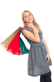 Free Lovely Blond With Shopping Bags Royalty Free Stock Images - 17815299