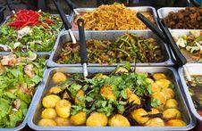 Various Thai Food At A Market Royalty Free Stock Photo
