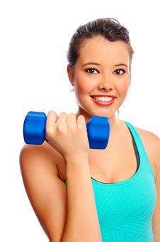 Pretty Woman With Dumbbells Royalty Free Stock Photo