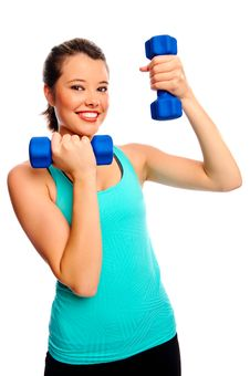 Pretty Woman With Dumbbells Stock Photos