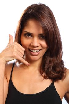 Free Call Me Hand Signal By Beautiful Young Woman Stock Image - 17817711
