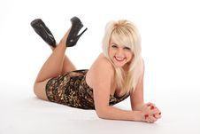 Free Cheerful Sexy Blonde Girl In Short Dress On Floor Royalty Free Stock Photo - 17817815