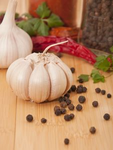 Garlic And Pepper With Other Spices Stock Photo