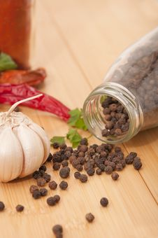 Garlic And Pepper With Other Spices Stock Photography