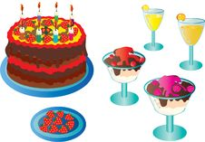 Delicious Sweets For Birthday. Royalty Free Stock Photos