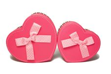 Gift Boxes In The Form Of Heart Stock Images
