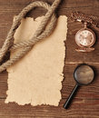 Free Old Paper With Pocket Watch And Magnifying Glass Stock Images - 17828484