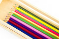 Free Coloring Pencils In A Wooden Box Royalty Free Stock Image - 17829456