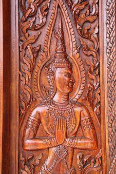 Free Thai Engraving Wood In Window Stock Image - 17820281