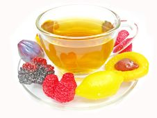 Free Marmalade Gelatin Fruits And Tea Cup Royalty Free Stock Images - 17821209