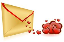 Free Envelope With Red Hearts Royalty Free Stock Photos - 17821428