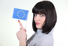 Young Woman Holding European Flag Stock Images