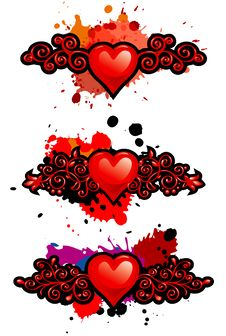 Free Set Of Hearts With Vignettes And Blots Stock Photography - 17821572