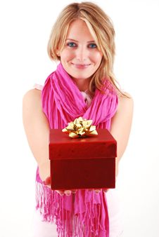 Free Young Woman With A Gift Royalty Free Stock Photo - 17821885