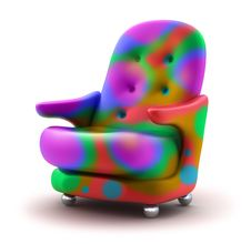 Armchair Multicolor Isolated Royalty Free Stock Photo