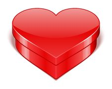 Red Shiny Heart Gift With Present Stock Photography