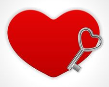 Free Red Shiny Heart Card With Key Stock Photography - 17822602