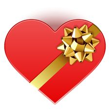 Free Gift Heart With Bow Top View Stock Images - 17822644