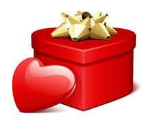 Free Red Shiny Heart Gift With Heart Present Stock Photos - 17822673