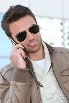 Free Portrait Of A Young Man On Phone Royalty Free Stock Images - 17822729