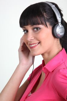 Free Young Woman Listening To Music With Headphones Stock Image - 17823301
