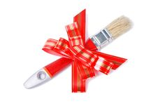 Paintbrush With Red Bow As A Gift For Painter Stock Photo