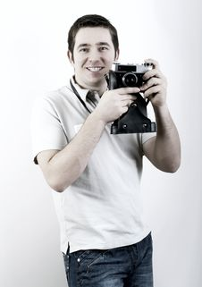 Free Man With Camera. Royalty Free Stock Images - 17824049