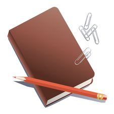 Free Notebook, Pencil And Paper Clips. Royalty Free Stock Image - 17825986