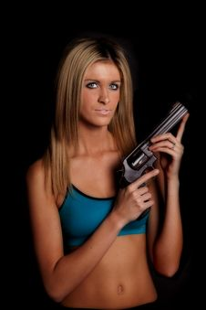 Free Woman Black Blue Gun Royalty Free Stock Photography - 17826207