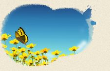 Free Yellow Flowers On Background Green Royalty Free Stock Photos - 17826218