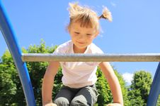 A Child Enters The Ladder On The Playground Stock Image