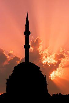 Turkish Mosque Sunset Stock Photos