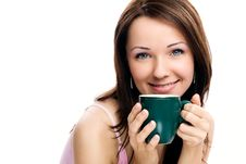 Free Portrait Of Beautiful Woman Drinking Coffee Royalty Free Stock Photos - 17826288