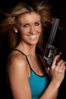 Free Woman Gun Big Smile Stock Photos - 17826553