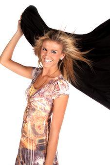 Free Woman Holding Black Wind Stock Photos - 17826633
