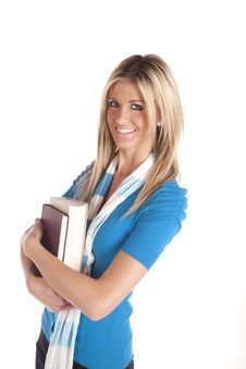 Free Woman Holding Books Blue Stock Photos - 17826673