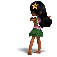 Free Very Cute Hawaiin Cartoon Girl Is Dancing For Royalty Free Stock Images - 17826779